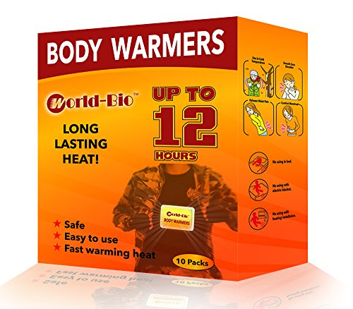 WORLD-BIO Body Warmers Patch Disposable with Adhesive Backing Gives 12 Hours Warm Pad - 10 Packs