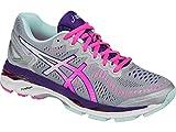 ASICS Women's Gel-Kayano 23 Running Shoe, Silver/Pink Glow/Parachute Purple, 8 M US
