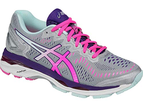 ASICS Women's Gel-Kayano 23 Running Shoe, Silver/Pink Glow/Parachute Purple, 7 M US
