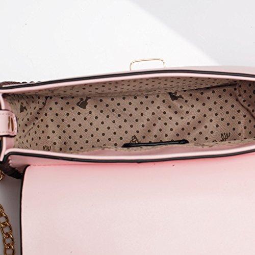 Barbie Bolso bandolera y baguette elegante de estilo chicas bolso casual con hebilla para mujer BBFB568 19x14.5x6CM Rosa