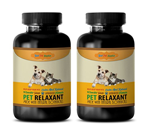 (BEST PET SUPPLIES LLC dog relaxing pills - PET RELAXANT - FOR DOGS AND CATS - CALM AND RELAX YOUR PET - CHEWABLE - valerian dog treats - 180 Chews (2 Bottle))