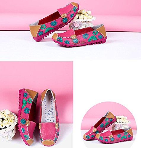 Bumud - Zapatos Holgados De Cuero Para Mujer, Con Estampado Floral, Slip On Flats, Rosa Fuerte