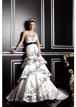 Ruban noir d ivoire robe de mariée-parole longueur sirène empire doux cœur  satin 73ca97914f9