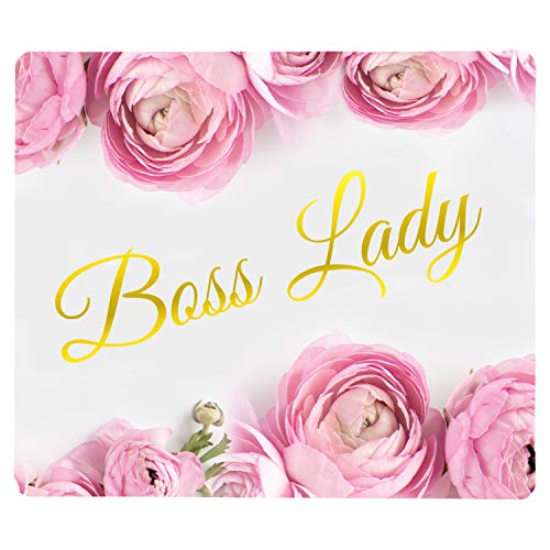 Beautiful Boss Lady Mouse Pad, Pink Roses Floral Design, 11x9