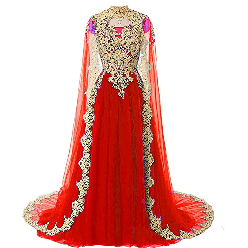 Kivary Gold Lace Vintage Long Prom Evening Dress Wedding Gown Cape Red US 16