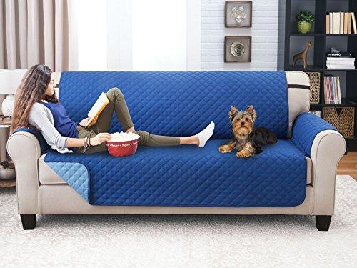 Elegante Luxurious Reversible Sofa Furniture Protector, Blue / Light Blue