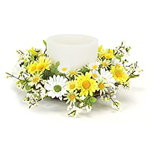 Melrose International Yellow and White Daisy Candle Rings, 12-Inch 6