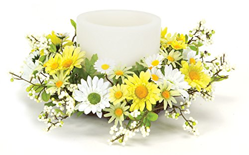 - Melrose International Yellow and White Daisy Candle Rings, 12-Inch