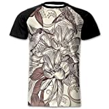 roomba yankee candle - Newfood Ss Pattern with Birds and Flowers Classic Style Ornamental Design Floral Print Men's Short Sleeve Raglan T XL