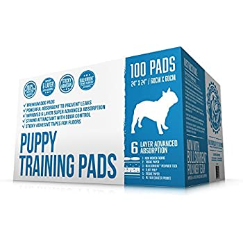 Bulldogology Premium Puppy Pee Pads with Adhesive Sticky Tape - Dog Training Wee Pads (24x24 Large, 100-Count)