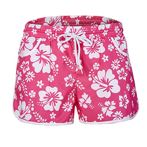 BBesty Save 15% Women's Summer Fashion Loose Multi-Color Multi-Code Floral Print Hot Pants Beach Casual Shorts Pink ()