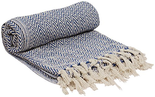 Chevron Fringe - SouvNear SG-PNP-034 Reversible Chevron Throw Blanket with Tassels, 65 x 52 inches, Blue and White