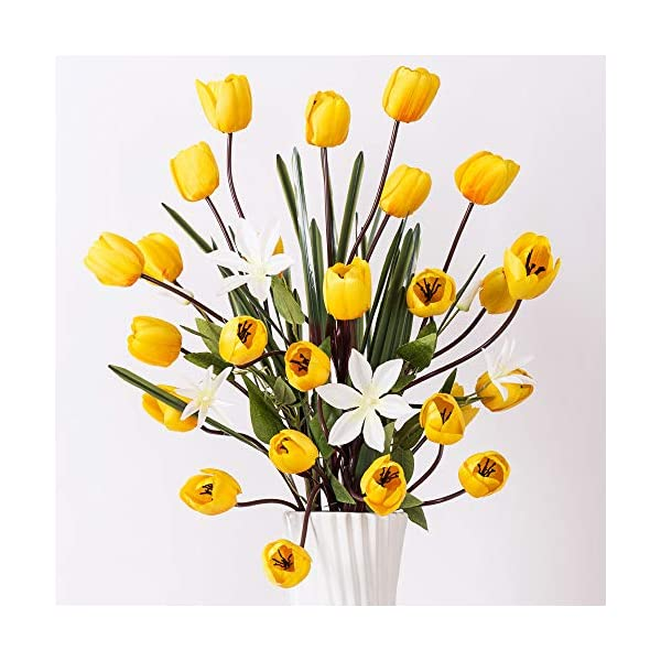 """YILIYAJIA Artificial Tulips Silk Flowers Bouquet Arrangement Long Stem Tulips Artificial Flowers Floor Flowers for Wedding Party Patio Decoration,40""""(Yellow)"""