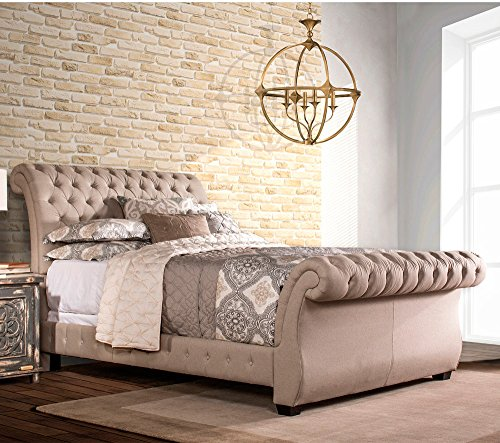 Hillsdale Bombay Upholstered Sleigh Bed, Queen with Bed