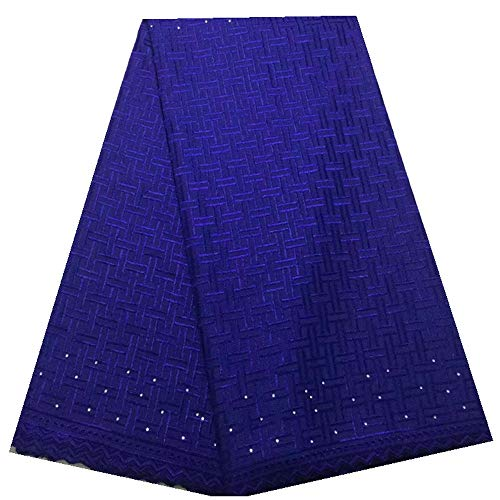 Zhangooqi Swiss Voile Lace in Switzerland Nigerian Lace Fabrics African Lace Fabric Cotton Lace Swiss Lace Fabric (Color : Royal Blue, Size : 5 Yards) (High Quality Swiss Voile Lace From Switzerland)