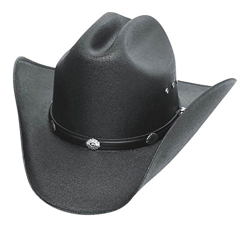 Classic Cattleman Straw Cowboy Hat with Silver Conchos and Elastic Band - Black - L/XL