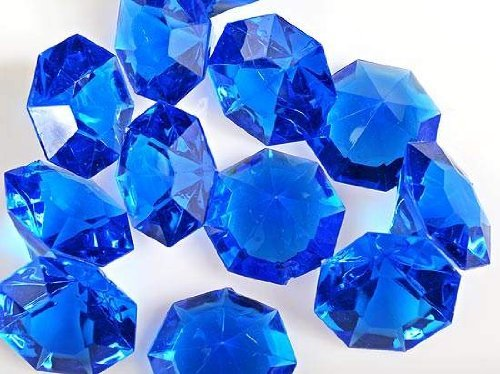 Royal Blue 25 Carat Acrylic Diamonds - 36 Acrylic Gems - Big -