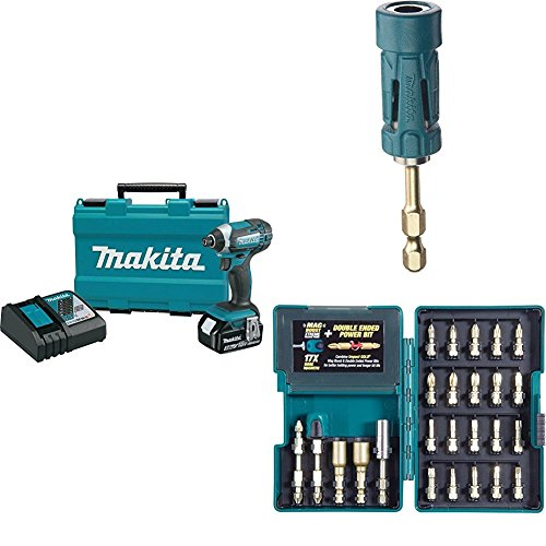 Makita XDT111 18V LXT Lithium-Ion Cordless Impact Driver Kit (3.0Ah) with B-35097 Impact GOLD Ultra-Magnetic Torsion Insert Bit Holder with B-46919 Impact GOLD 26 Pc. Torsion Bit Set