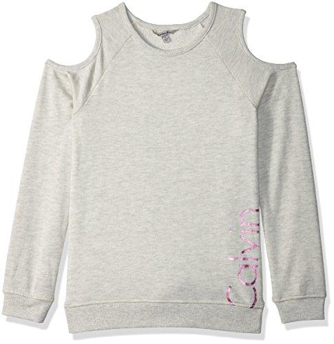 Calvin Klein Print Pullover (Calvin Klein Little Girls' Logo Cold Shoulder Sweatshirt, Treasure Heather, 5)