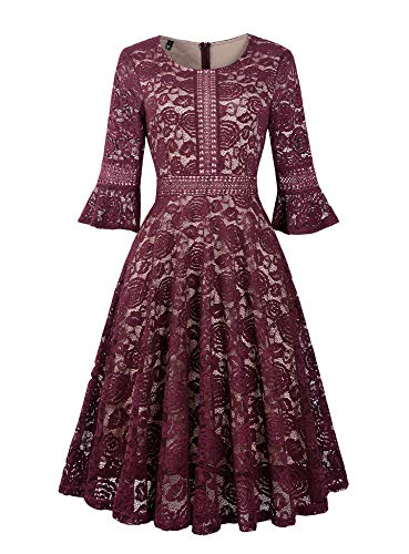 Twinklady Women's Vintage Full Lace Bell Sleeve Big Swing A-Line Dress (Small, Wine Red)