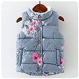 Mofgr Winter Baby Girls Waistcoat Thick With Fleece Kids Warm Vests Floral Print Toddler Children's Vest Pink 24M