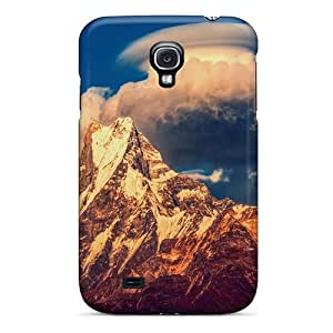 Tpu Case Cover Compatible For Galaxy S4/ Hot Case/ Wondrous Clouds Over High Mountain Peak