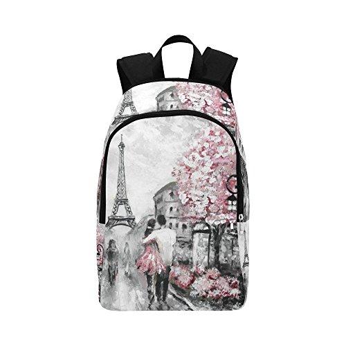 InterestPrint CustomOil painting street view paris Laptop Backpack Adult Casual Back Pack College Travel Backpack Bag Satchel Bookbag for Women and Men - Paris Laptop Carrying Backpack