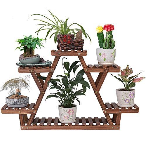 Ufine Wood Plant Stand Triangular Plant Shelf Multi Tier Flower Display Holder Storage Rack 6 Pots for Indoor Outdoor Living Room Balcony Patio ()