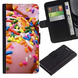 KLONGSHOP / Tirón de la caja Cartera de cuero con ranuras para tarjetas - Doughnut Pink Sweet - Sony Xperia Z1 Compact D5503