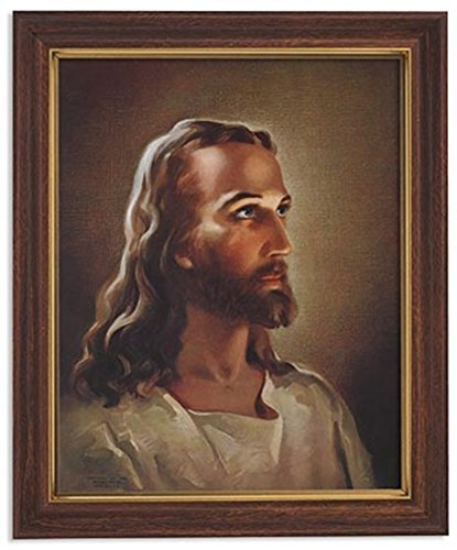 Jesus Painting - Gerffert Collection Sallman Head of Christ Catholic Framed Portrait Print, 13 Inch (Wood Tone Finish Frame)