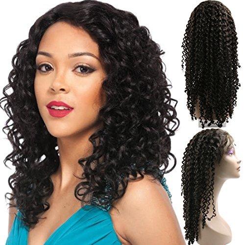 DealMux Lace Front Wigs 18 Curly Humanos brasileiras do cabelo sem cola Perucas 130% Densidade w / Baby Cabelo Nature Hairline Livre Parte mo amarrada Swiss Lace