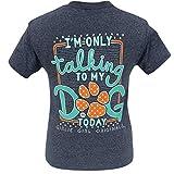 Girlie Girl Originals My Dog Today Heather Navy Short Sleeve T-Shirt (Medium)