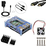 5 in 1 Kit for Raspberry Pi 3, Blue Acrylic Sliced 9 layers Case Box + 2500mA Power Adapter Match ON/Off Cable + 200mA Cooling Fan + Two Aluminum Heatsinks + 5ft HDMI to HDMI Cable [Raspberry Pi 3 not include]