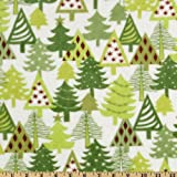 60'' Wide Kaufman Minky Cuddle Christmas Trees White/Green Fabric By The Yard