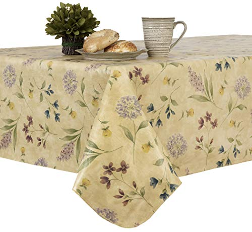 EVERYDAY LUXURIES Botanical Toss Flannel Backed Indoor Outdoor Vinyl Table Linens, 60-Inch by 102-Inch Oblong (Rectangle) Tablecloth