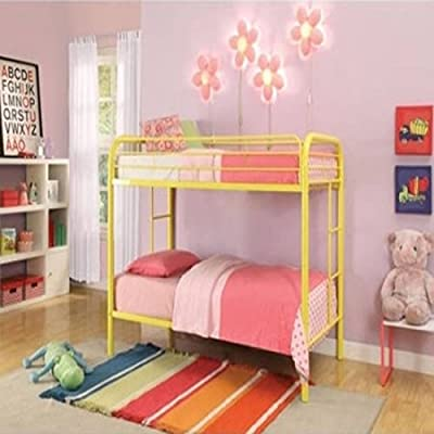 Durable Yellow Metal Tube Twin Bunk Bed
