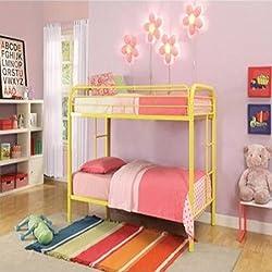 Durable Yellow Metal Tube Twin Bunk Bed