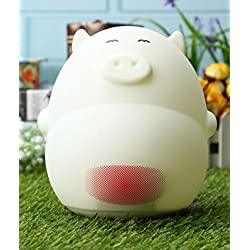Lovely Cartoon Pig LED Night Light Sound Control Table Lamp with Alarm Clock USB Rechargeble by Superjune (02)