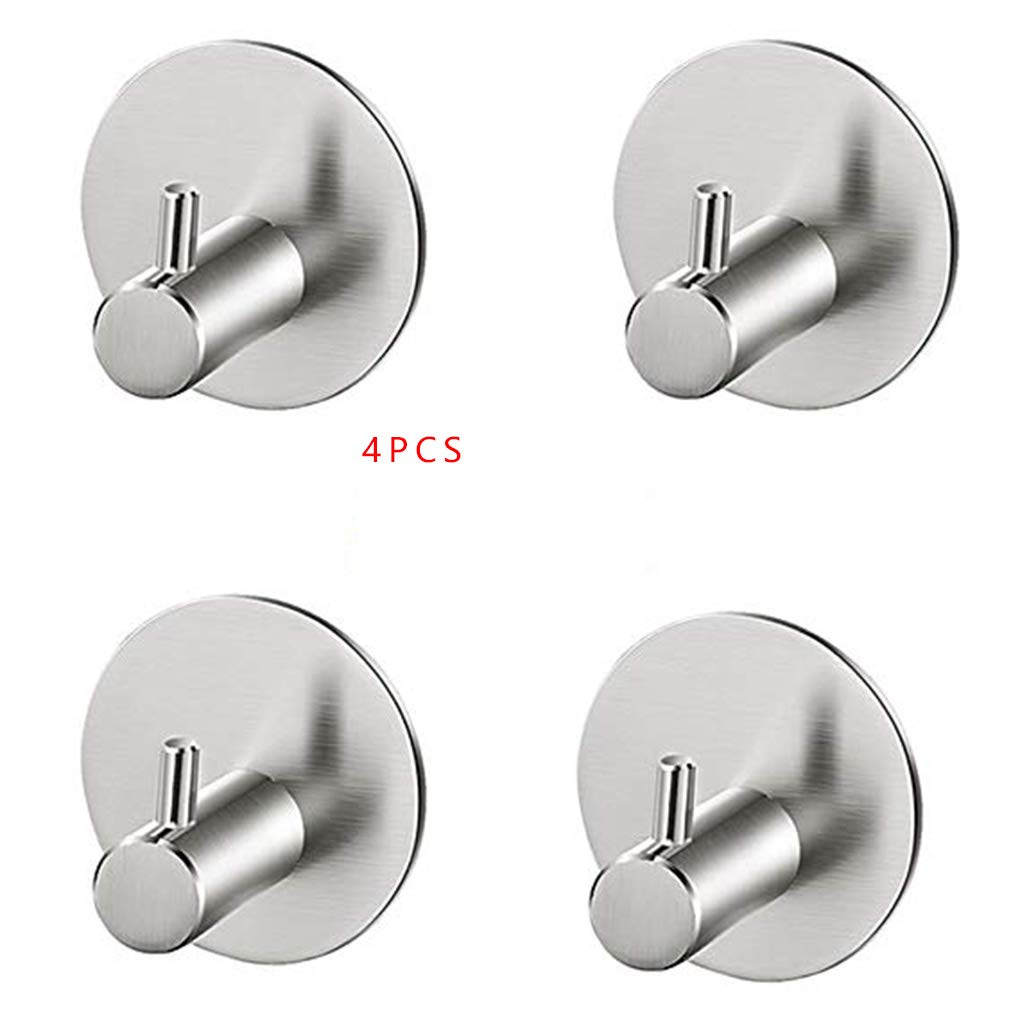 Cocoray 4Pcs/Set Bathroom Self Adhesive Wall Hook for Towel Robe Brushed Stainless Steel Wall Rack Hanger