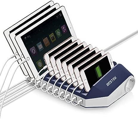 Base de Carga 66W BESTEK Estación de Carga (6V 3A QC 3.0 USB Carga Rápida/AC Tomas Salidas/ 10 2.4A USB Salidas) 10 de Compartimentos, Cargador ...