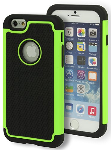 """iPhone 6 Case, Bastex Hybrid Deluxe Green and Black Rugged Shock Armor Case for Apple iPhone 6, 4.7"""" 6th Generation"""