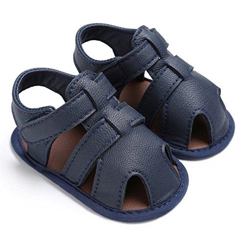 Sandalias De Bebe,BOBORA Prewalker Zapatos Primeros Pasos Para Bebe Sandalias Del Verano Del Nino Del Bebe Del Hueco De La PU azul