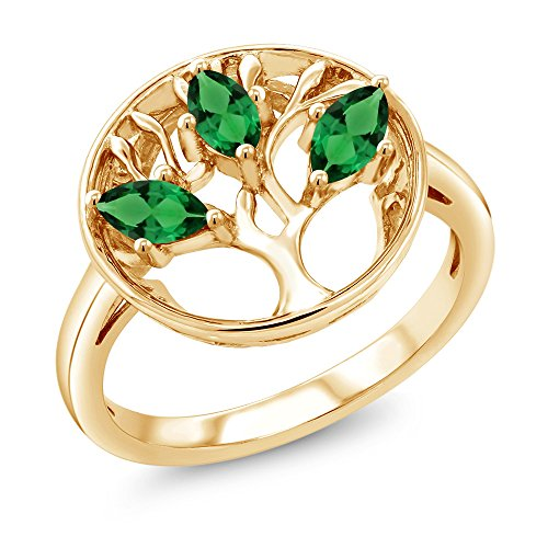 Gem Stone King 0.60 Ct Marquise Simulated Emerald 18K Yellow Gold Plated Silver 3-Stone Tree Of Life Ring (Size 7)