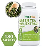 Best Green Tea Extract 98% 1000mg with EGCG 180 Capsules (Non-GMO & Gluten Free) Max Potency for Weight Loss & Metabolism Boost - Natural Caffeine for Gentle Energy - 100% Money Back Guarantee