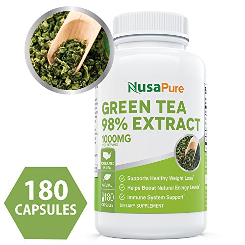 Green Tea Extract 98% 1000mg with EGCG 180 Capsules (Non-GMO & Gluten Free) Max Potency for Weight Loss & Metabolism Boost - Natural Caffeine for Gentle Energy (Best Green Tea Extract Pills)