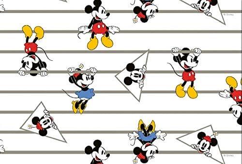 Baumwolle Mickey Minnie Mouse Streifen weiß bunt
