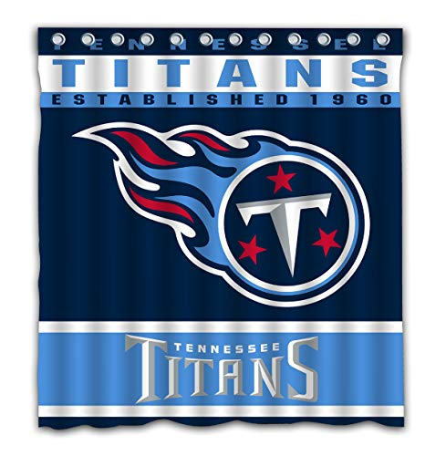 Potteroy Tennessee Titans Team Design Shower Curtain Waterproof Polyester Fabric 66x72 Inches