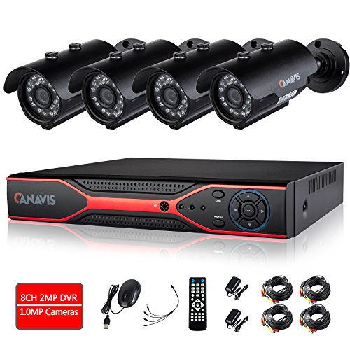 Security Camera System, CANAVIS 8 Channel AHD Surveillance DVR with 4 720P HD 1.0 Megapixel Indoor Outdoor IP66 Bullet Cameras , Home CCTV Camera Surveillance Kits NO Hard Drive by CANAVIS