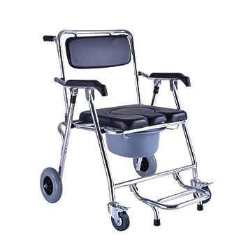SISHUINIANHUA Silla de Ducha con Ruedas para discapacitados y ...