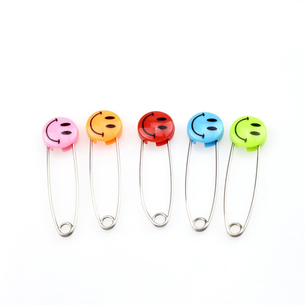 10 Pcs Smile Cartoon Pins - Random Color Safety Pins Plastic Head Baby Cloth Diaper Nappy Pins Bestowal